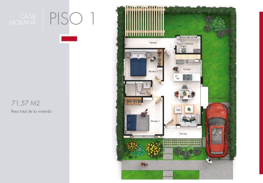 Plano de Casa Mokaná, condominio campestre Jwaeirruku - Atlántico
