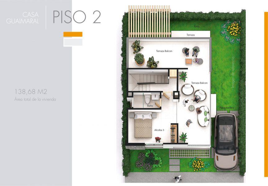 Plano de Casa Guaimaral, condominio campestre Jwaeirruku - Atlántico