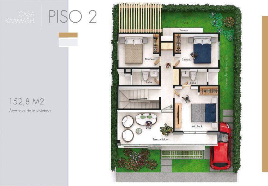 Plano de Casa Kaamash, condominio campestre Jwaeirruku - Atlántico
