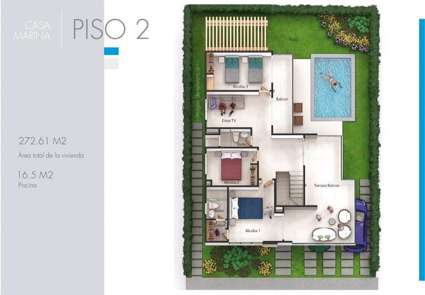 Plano de Casa Marina, condominio campestre Velamar - Atlántico